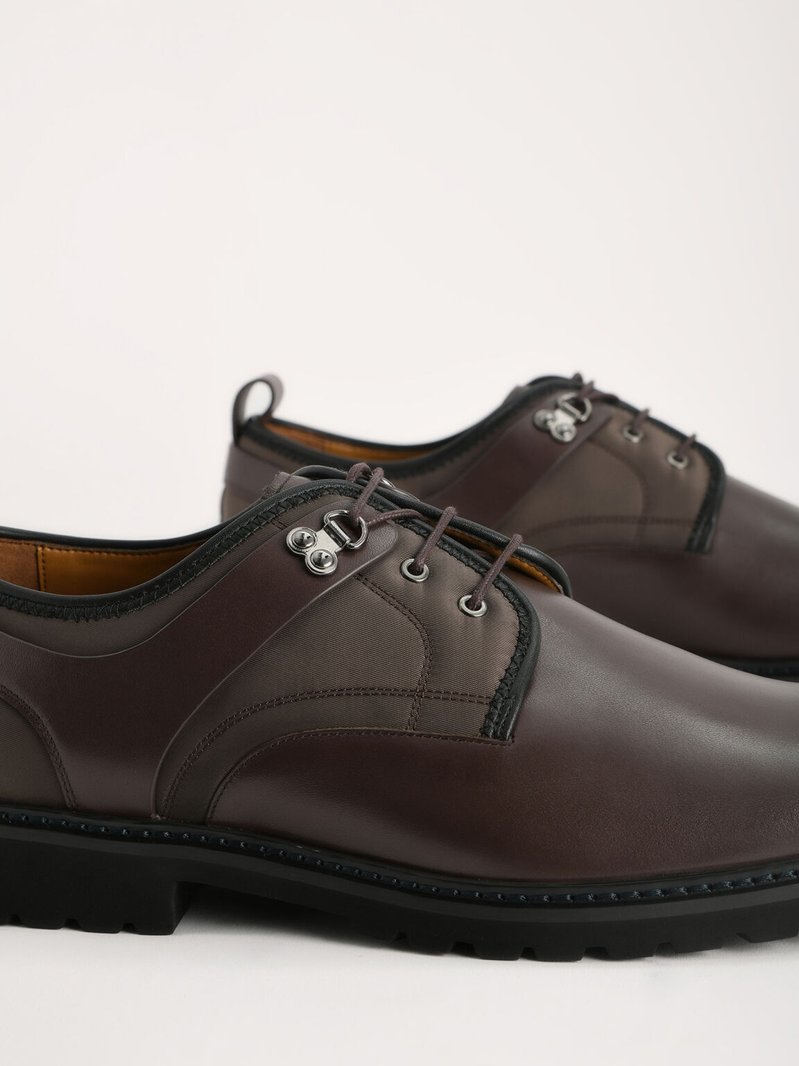 Boxed Calf Leather Derby Shoes, Dark Brown, hi-res