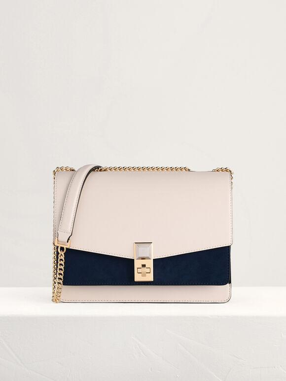 Two-Tone Shoulder Bag, Multi2, hi-res