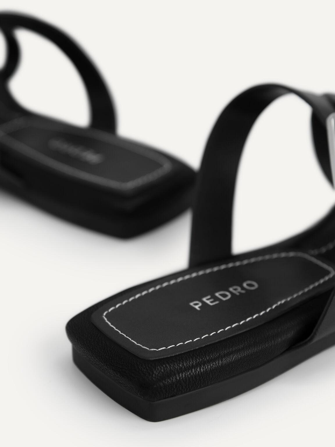 Square-Toe Toe Loop Sandals, Black, hi-res
