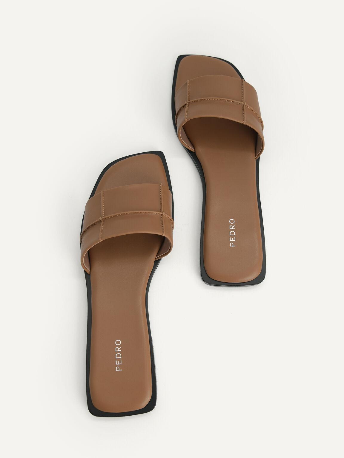Slide Sandals, Brown, hi-res