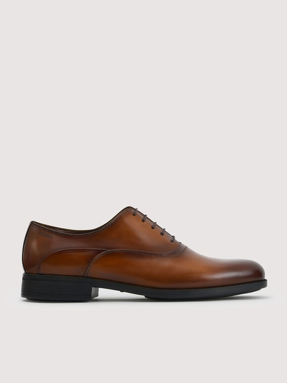 Leather Oxford Shoes, Cognac, hi-res
