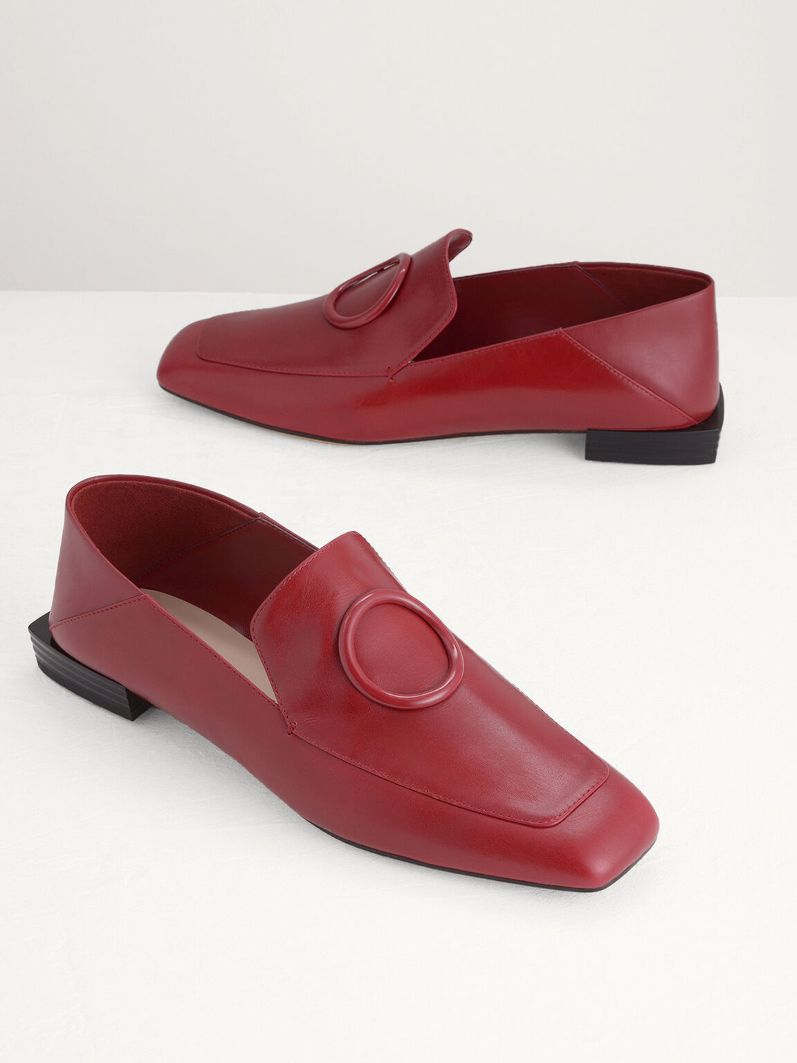 Ring Buckle Leather Loafers, Red, hi-res