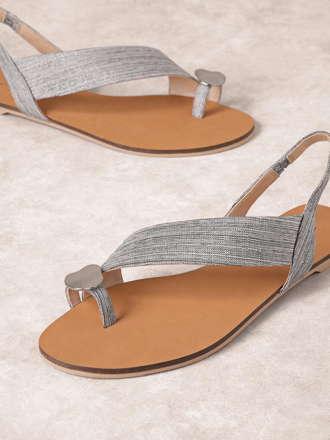 Embellished Toe-Ring Slingback Sandals, Silver, hi-res