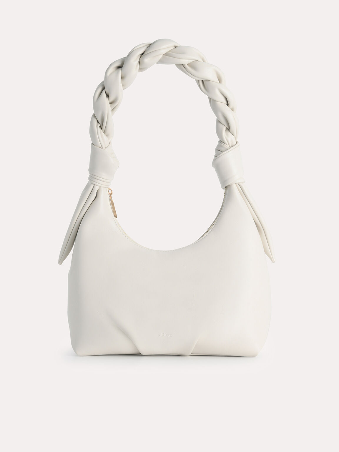 Hobo Bag with Twisted Top Handle, Chalk, hi-res
