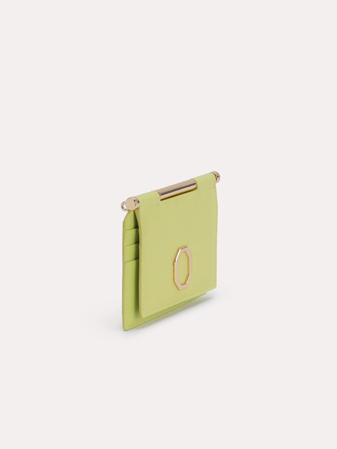 Leather Bi-Fold Cardholder, Light Green, hi-res