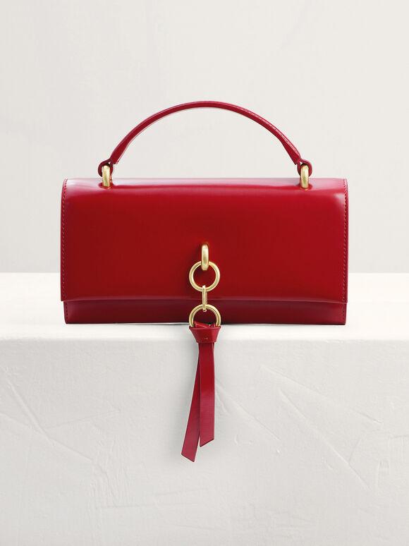 Leather Tasselled Tri-Fold Wallet, Red, hi-res