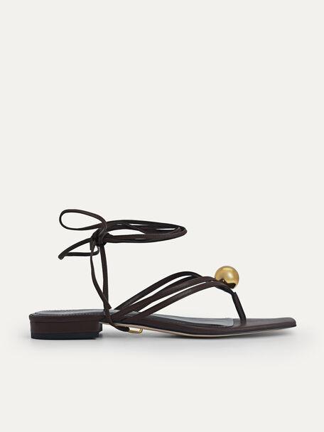Orb Lace-Up Sandals, Dark Brown, hi-res