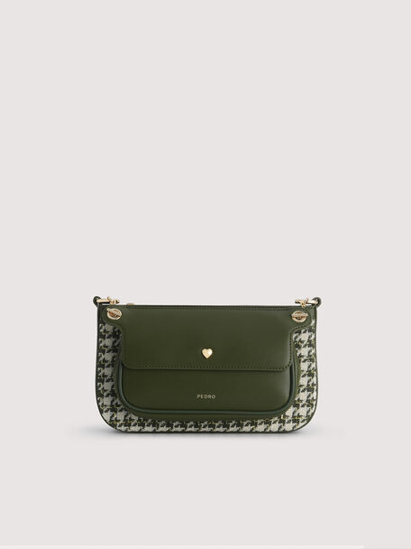 Houndstooth Double Flap Shoulder Bag, Military Green, hi-res