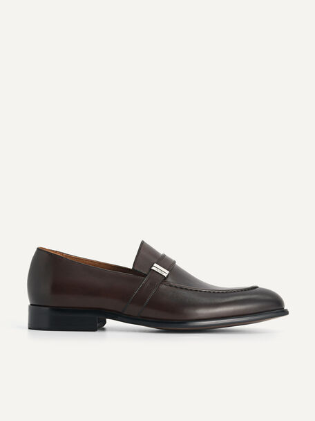 Leather Loafers, Dark Brown, hi-res
