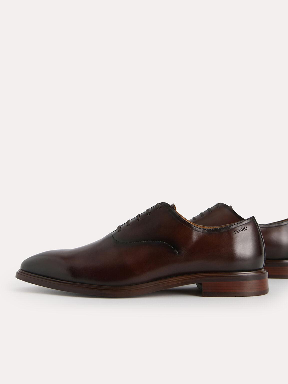 Burnished Leather Oxfords, Brown, hi-res