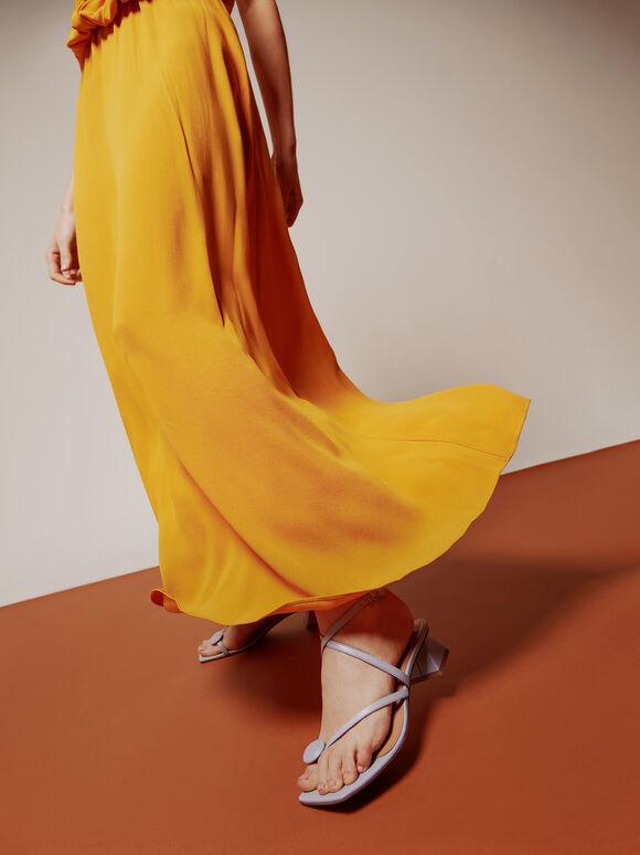 Strappy Toe-Loop Heeled Sandals, Lilac, hi-res