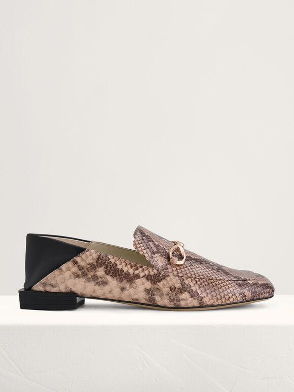 Snake-Effect Gold Embellished Loafers, Multi, hi-res
