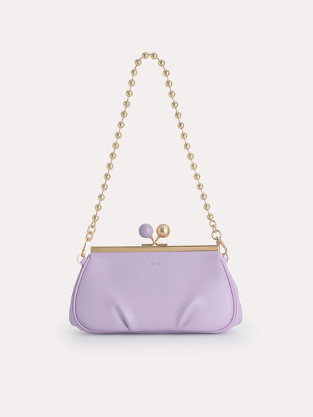 Shoulder Bag with Pearl Closure, Lilac, hi-res