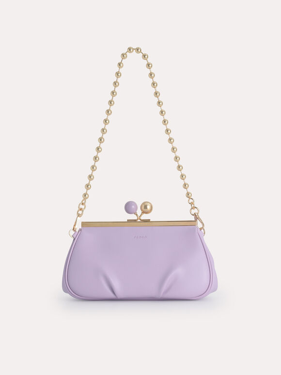Shoulder Bag with Pearl Closure, Lilac, hi-res