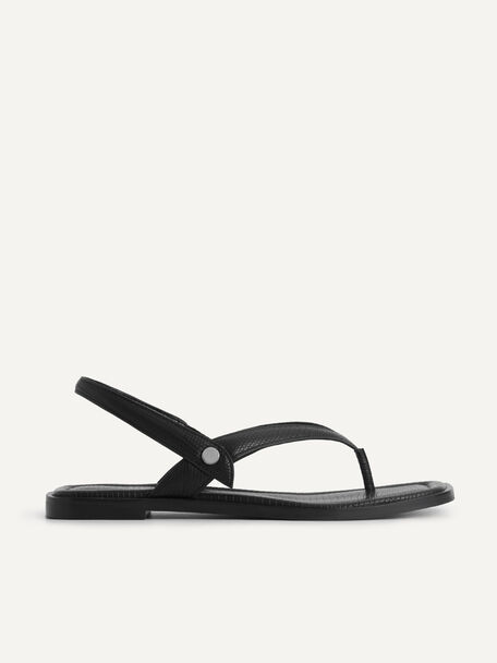 Lizard-Effect Slingback Thong Sandals, Black, hi-res