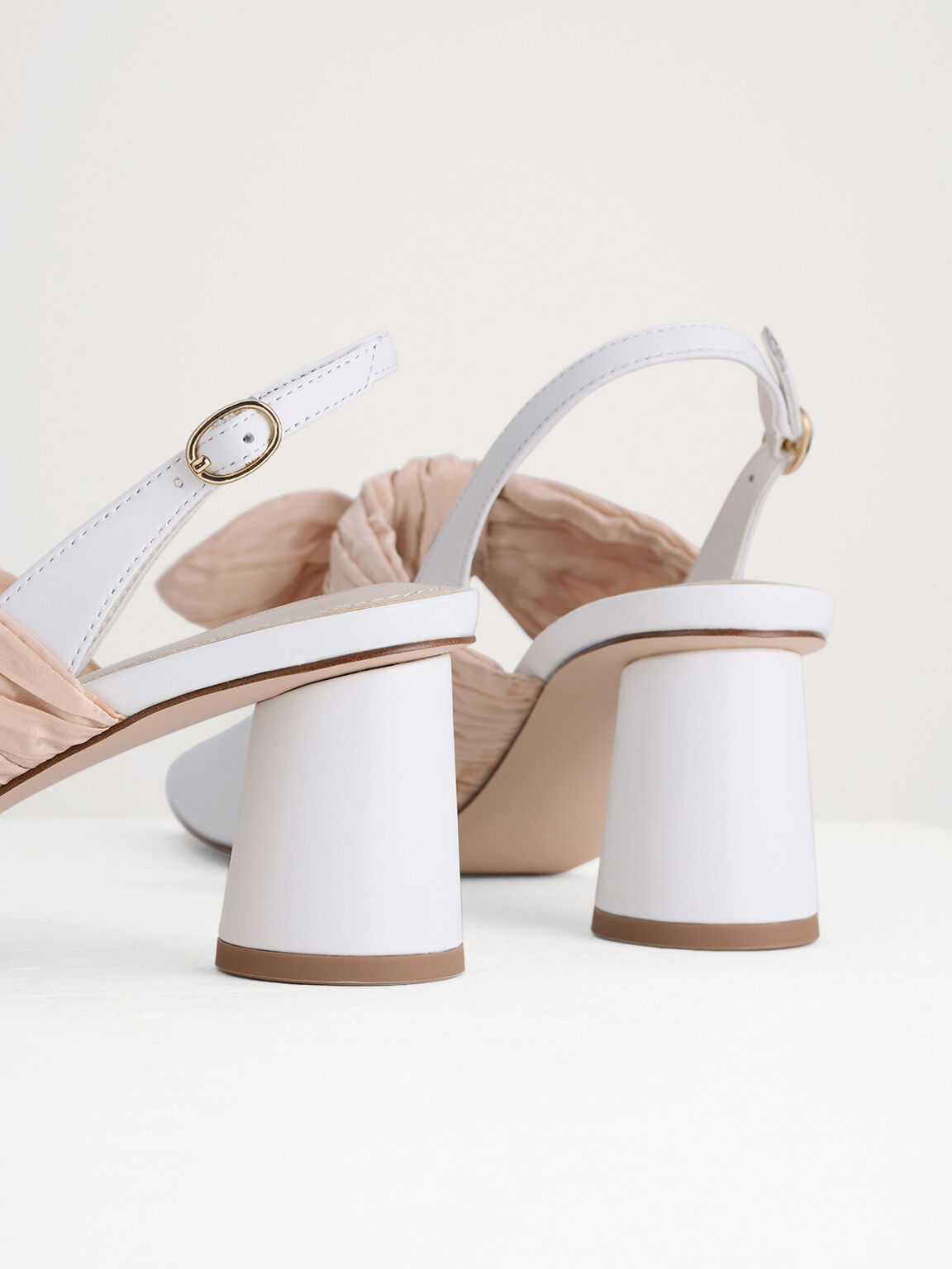 Leather Slingback Pumps with Bow Detail, White, hi-res