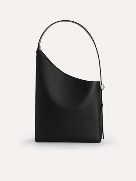 Large Asymmetrical Hobo Bag, Black, hi-res