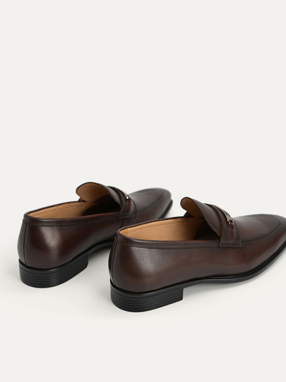 Leather Loafers, Brown, hi-res
