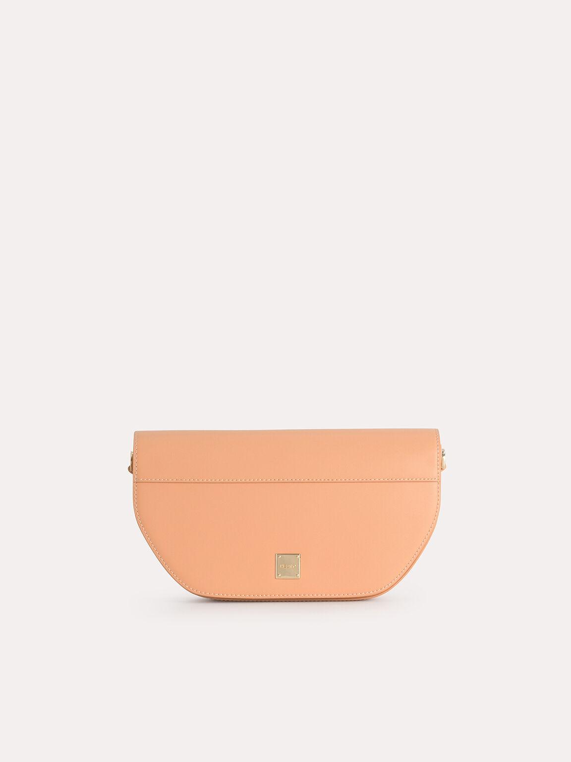 Leather Shoulder Bag with Scarf Top Handle, Light Orange, hi-res