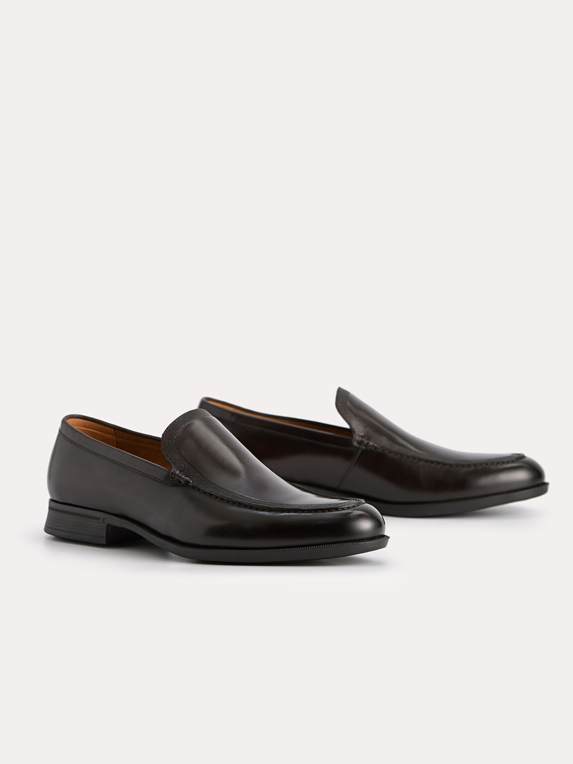 Burnished Leather Loafers, Dark Brown, hi-res