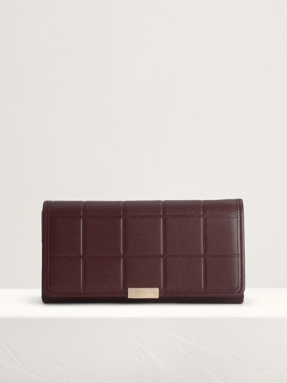 Qulited Long Leather Wallet on Chain, Mahogany, hi-res