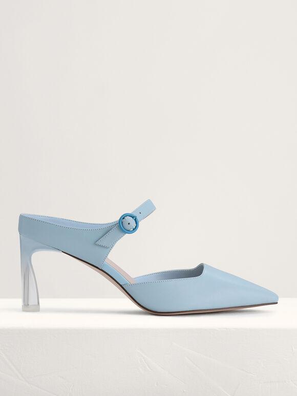 Leather Buckled Heels, Light Blue, hi-res