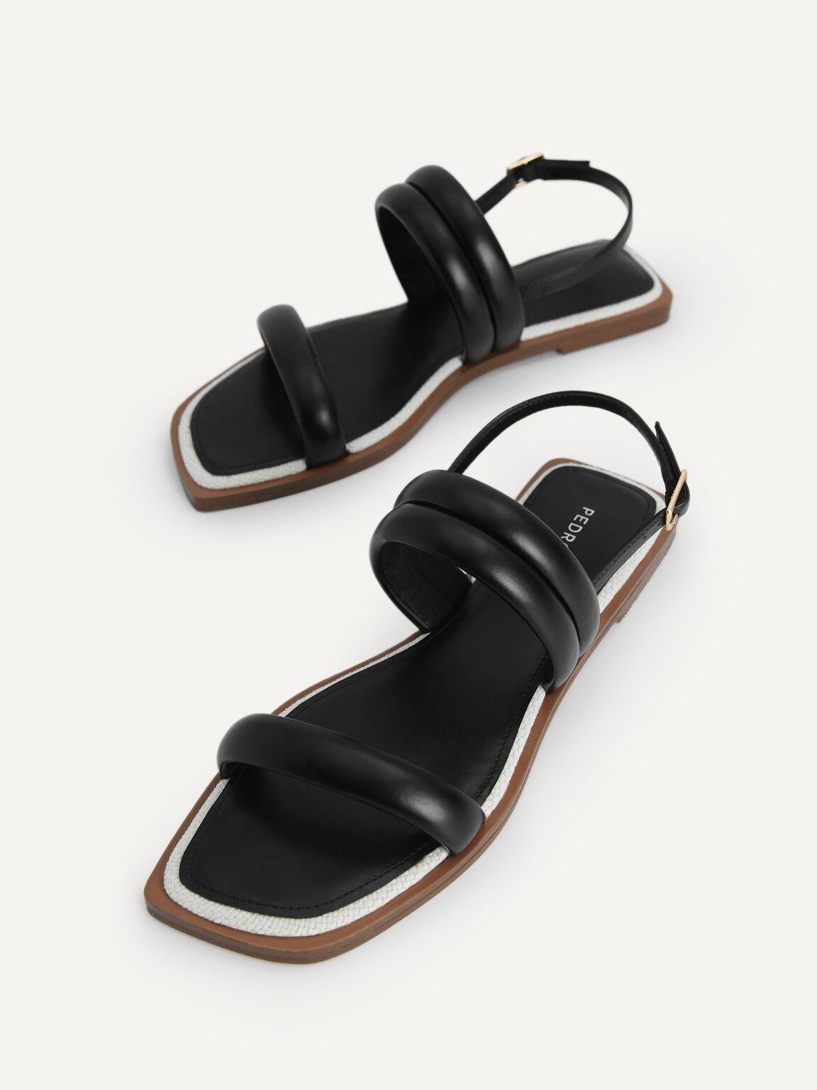 Double Strap Slingback Sandals, Black, hi-res