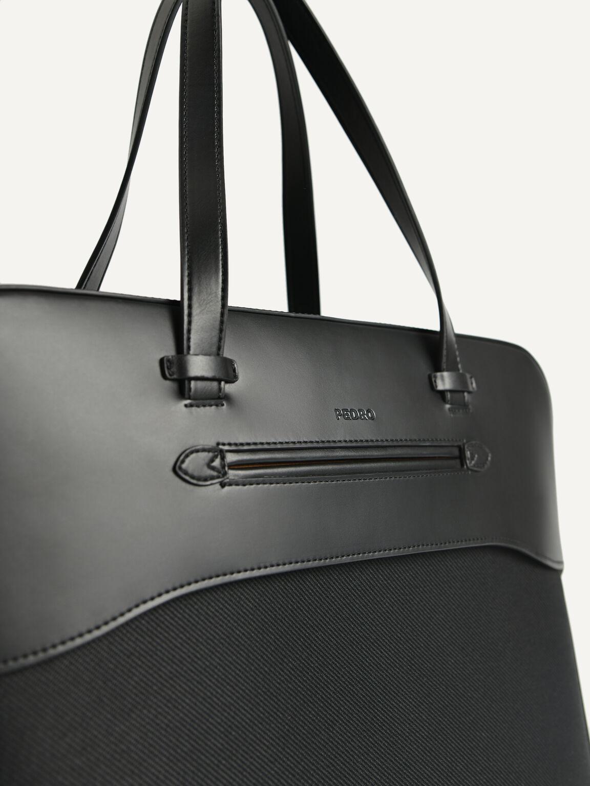 Leather Briefcase, Black, hi-res