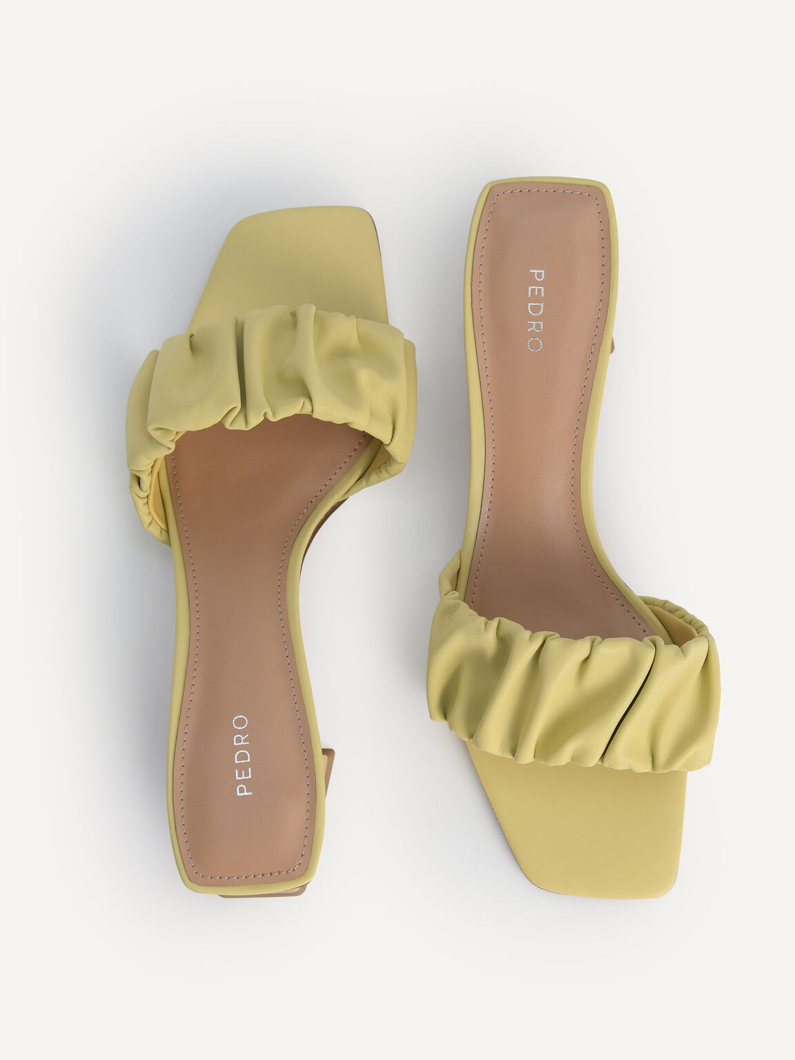 Ruched Heeled Mules, Light Green, hi-res