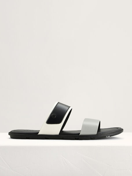 Double Strap Sandals, Light Grey, hi-res