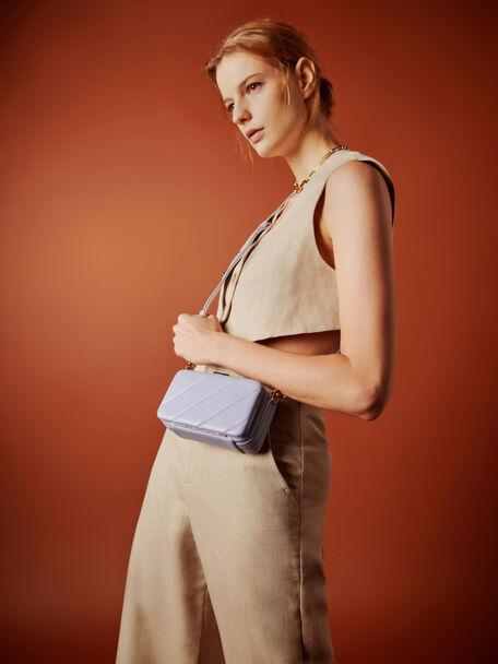Quilted Boxy Shoulder Bag, Lilac, hi-res