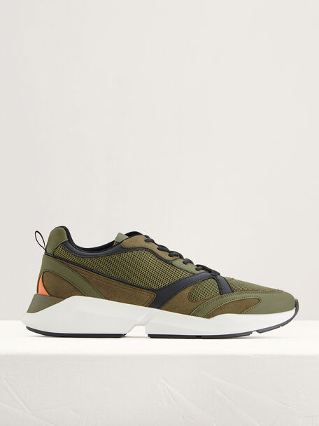 Suede and Mesh Sneakers, Military Green, hi-res