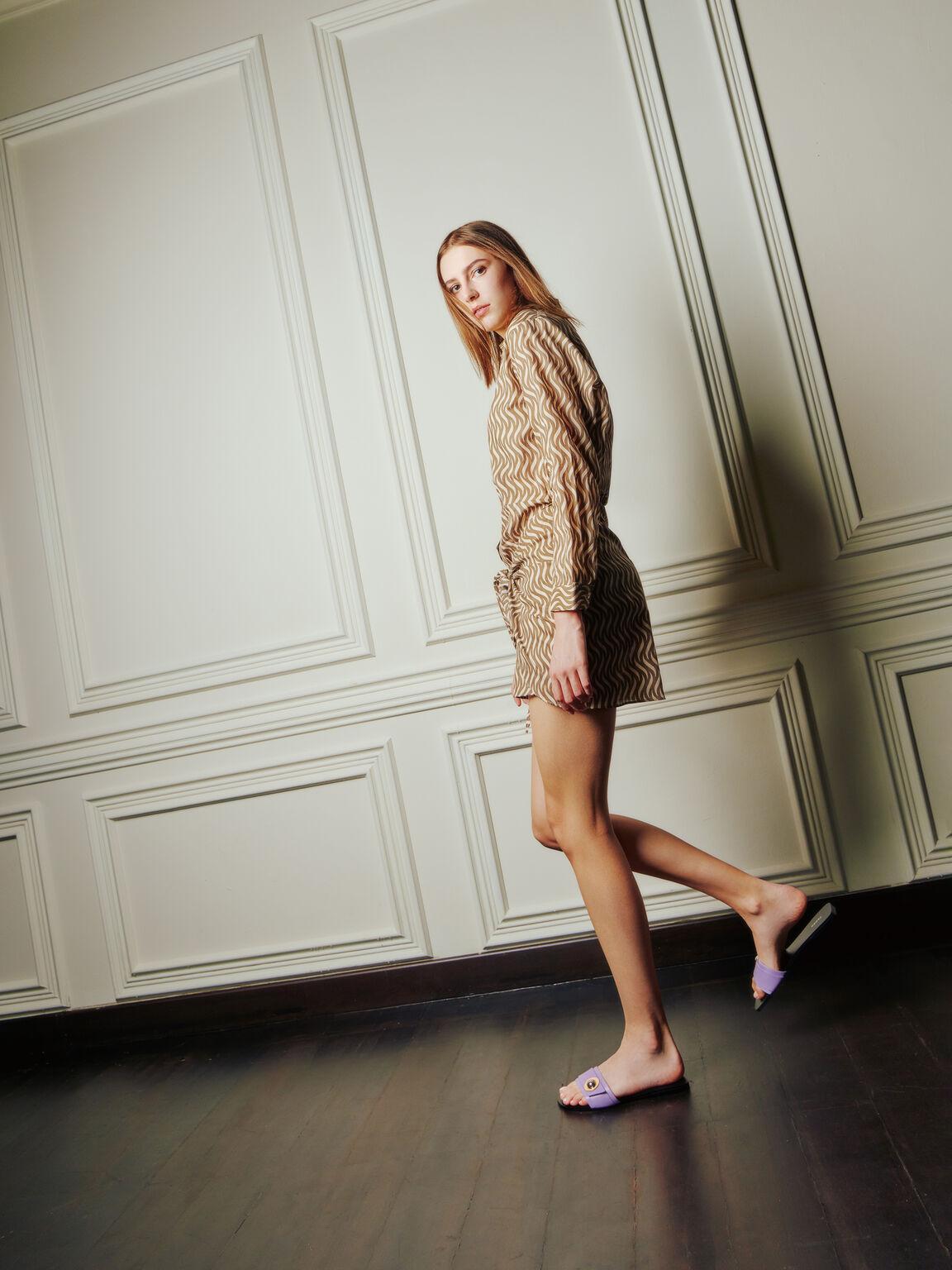 Metal-Embellished Sandals, Mauve, hi-res