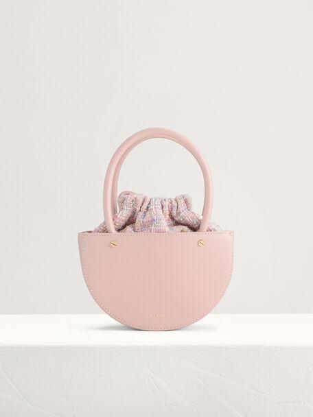 Tweed Top Handle Bag, Pink, hi-res