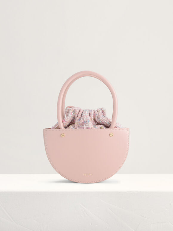 Tweed Top Handle Bag, Pink, hi-res