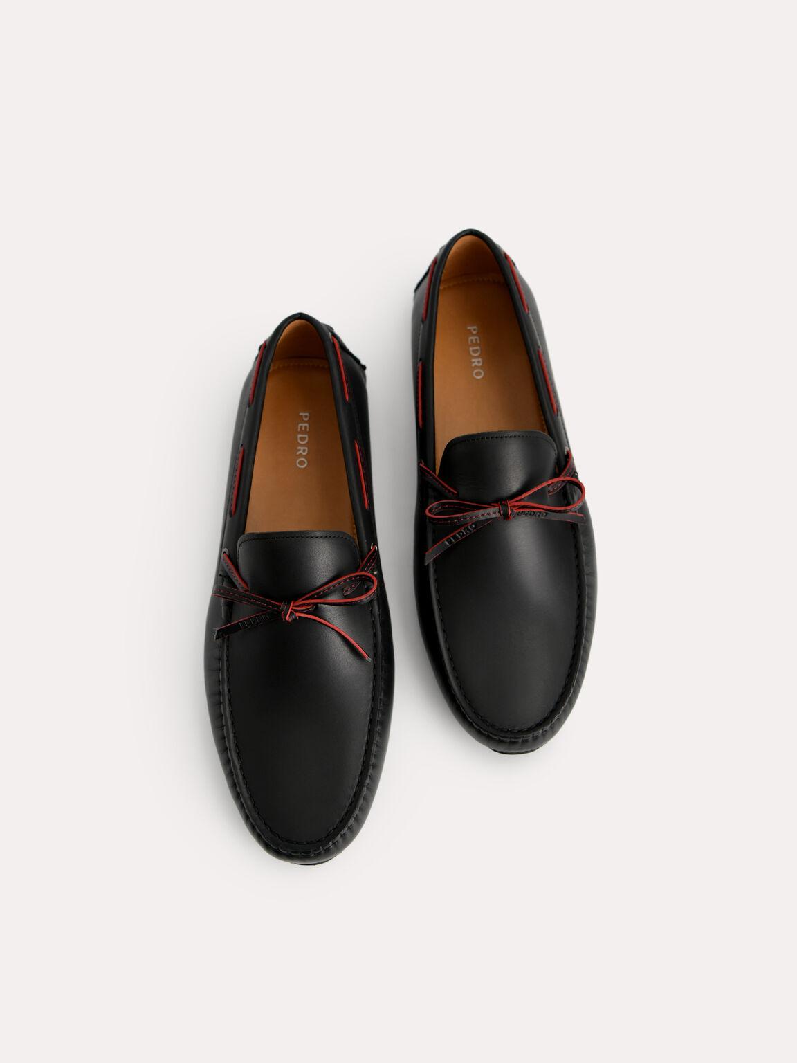 Bow-Detailed Leather Moccasins, Black, hi-res