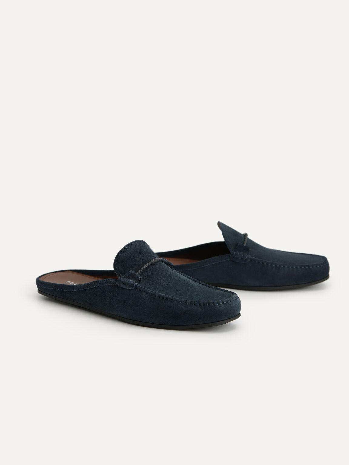 Suede Slip-On Loafers, Navy, hi-res