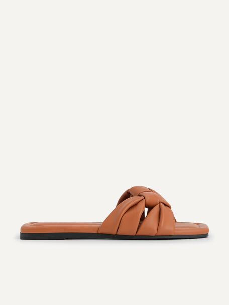 Knotted Straps Slip-On Sandals, Cognac, hi-res