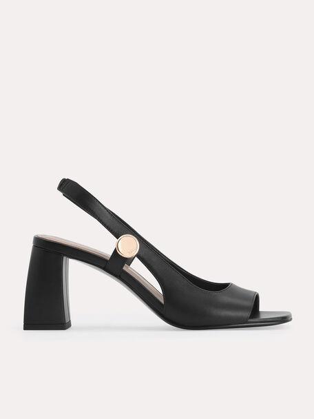 Leather Slingback Heeled Sandals, Black, hi-res