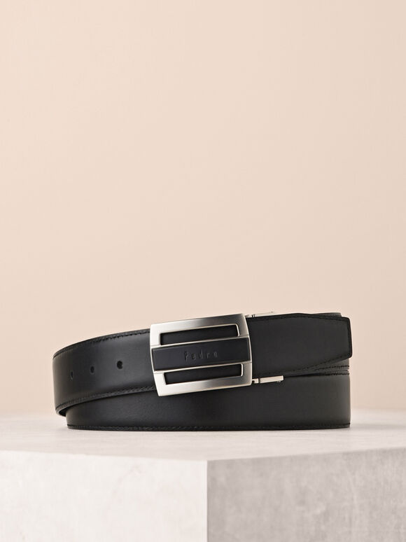 Printed Leather Belt, Black, hi-res