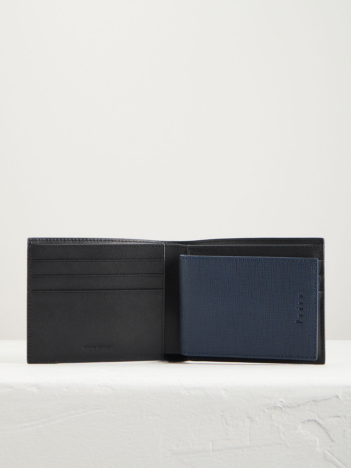 Leather Bi-Fold Wallet with Insert, Navy, hi-res