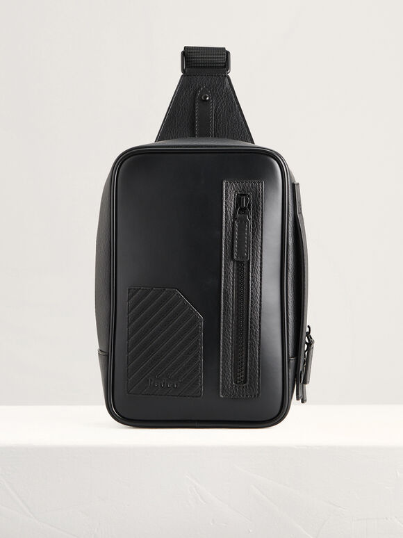 Two-Toned Sling Pouch, Black, hi-res