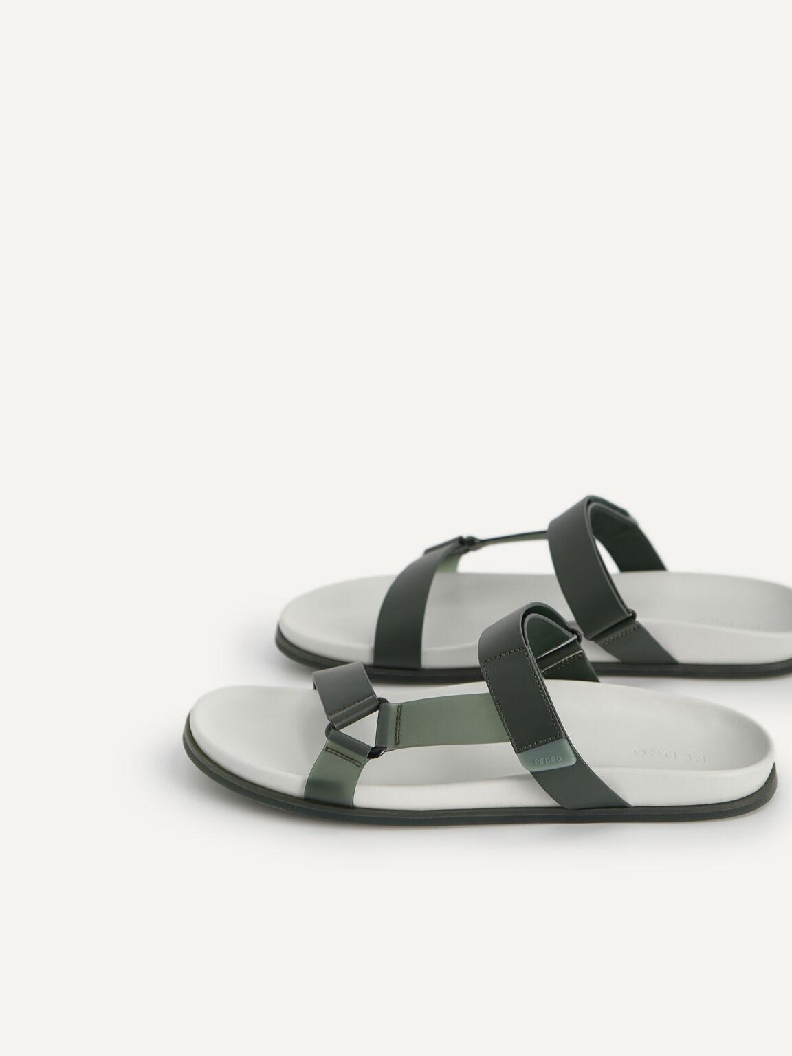 Velcro Strap Sandals, Military Green, hi-res