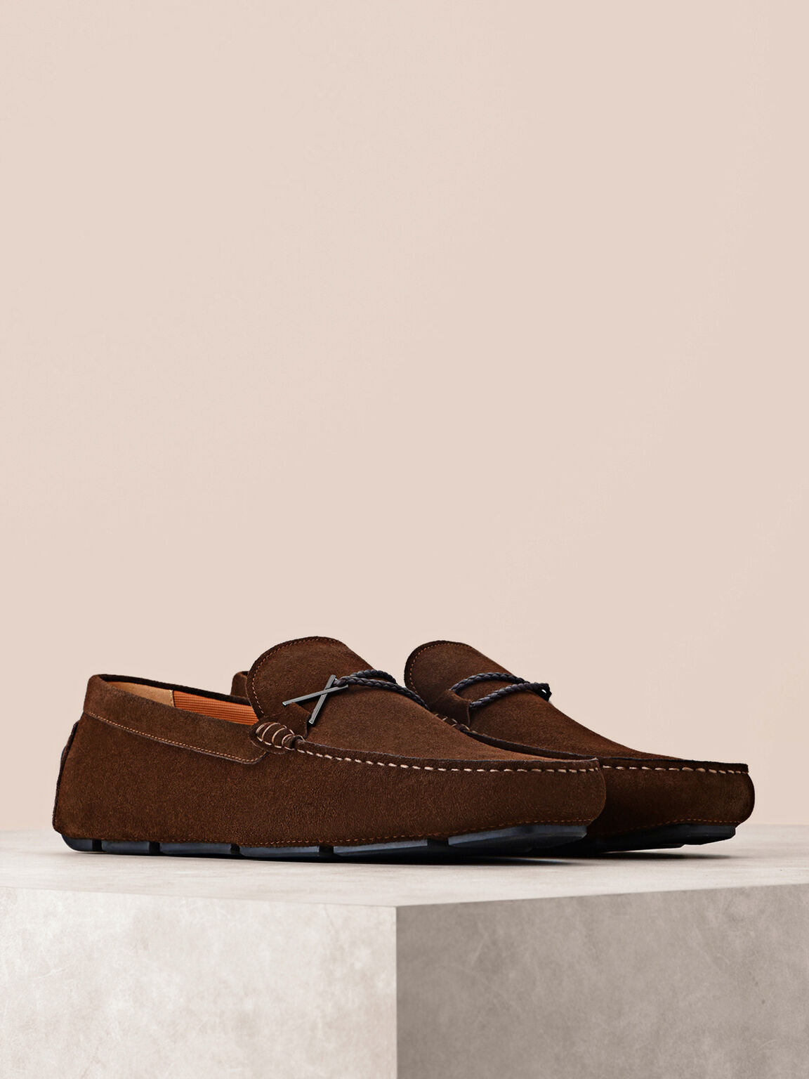 Bit Suede Moccasins, Dark Brown, hi-res