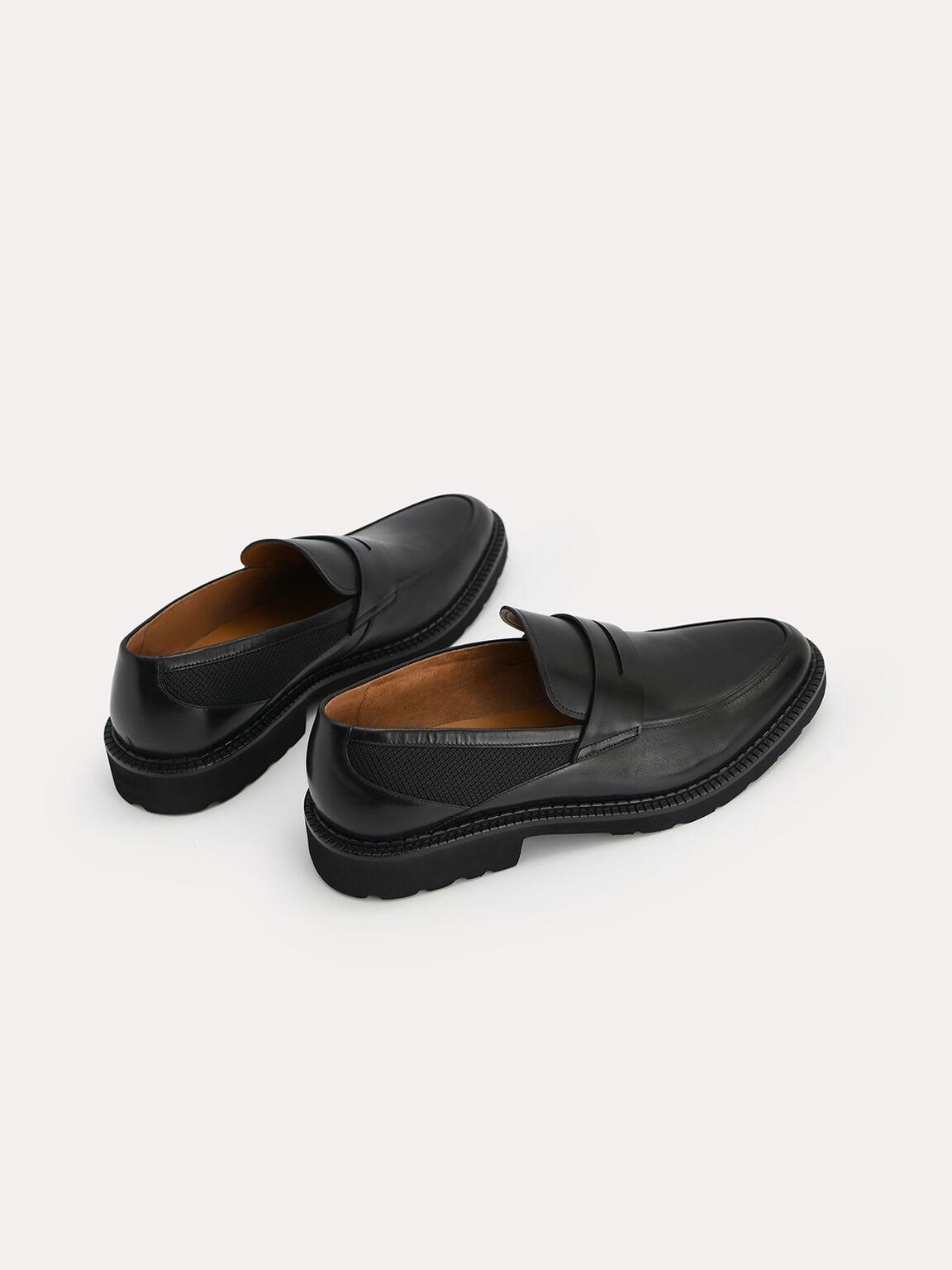 Burnished Leather Penny Loafer, Black, hi-res