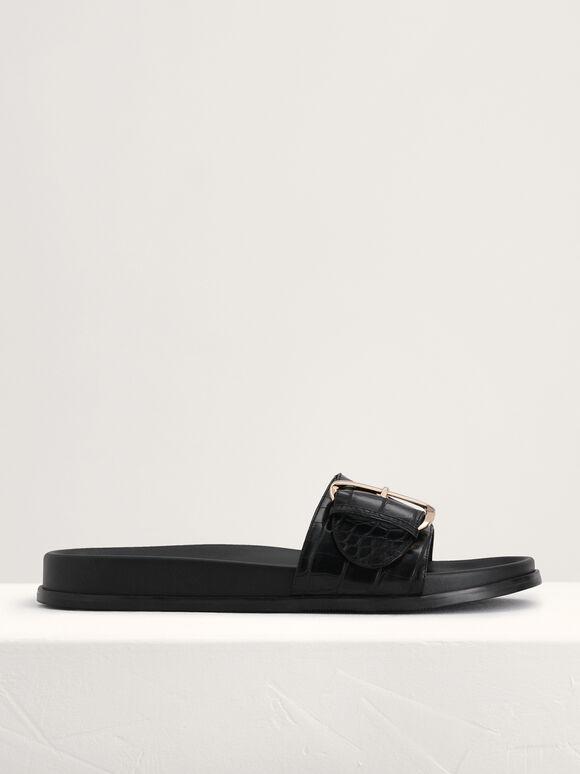 Croc-Effect Buckled Slides, Black, hi-res