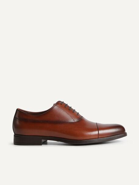 Leather Cap Toe Derby Shoes, Cognac, hi-res