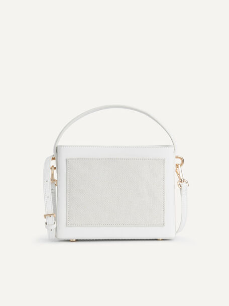 Boxy Top Handle with Braided Strap, White, hi-res