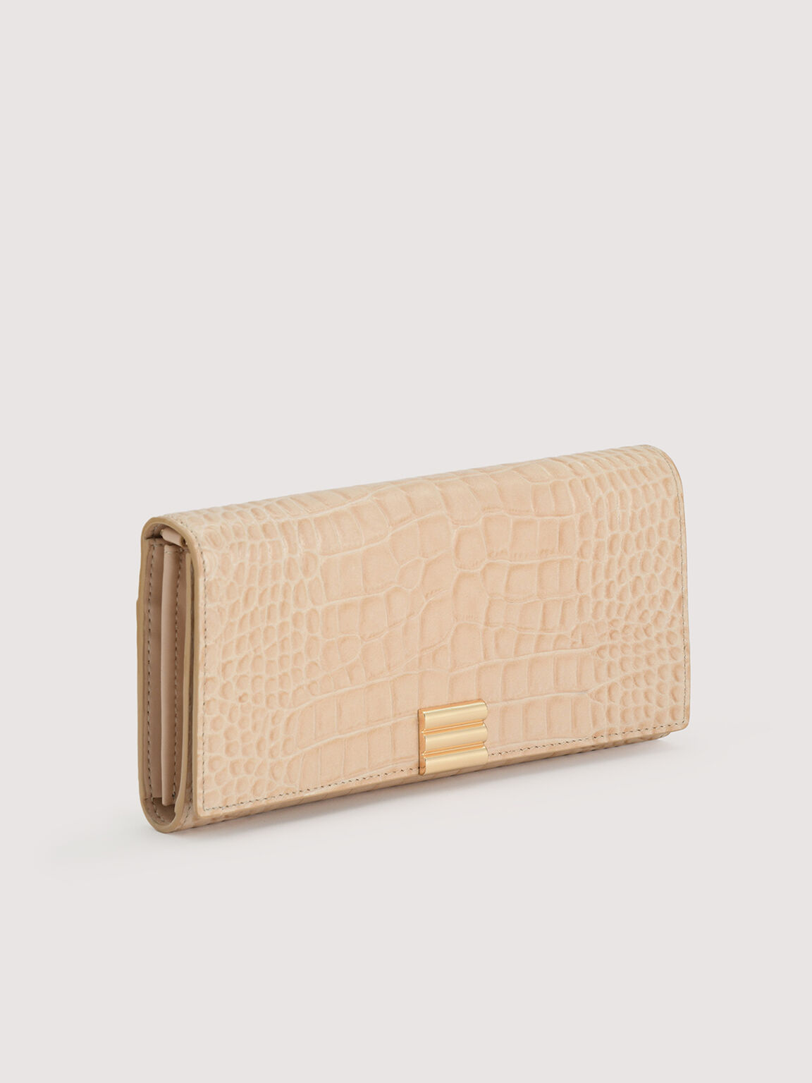 Embossed Leather Wallet On Chain, Nude, hi-res