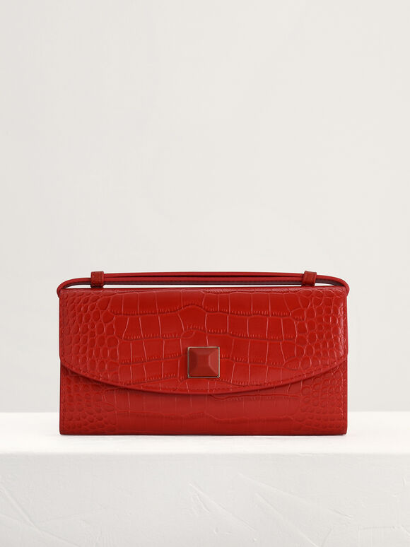 Croc-Effect Leather Wallet On Chain, Red, hi-res